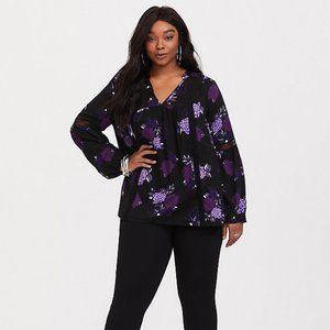 Torrid Black Purple Floral Twill Lace Tunic